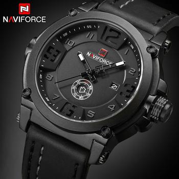 NAVIFORCE Top luksusowa marka mężczyźni sport wojskowy zegarek kwarcowy człowiek analogowy data zegar zegarek ze skórzanym paskiem Relogio Masculino tanie i dobre opinie 24cm QUARTZ 3Bar Klamra Stop 14mmmm Hardlex Kwarcowe Zegarki Na Rękę Papier Skóra 45mmmm NF9099BWB 24mmmm Prostokąt