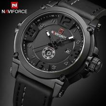 NAVIFORCE reloj de cuarzo militar deportivo para hombre, reloj Masculino con fecha analógica, reloj de pulsera con Correa de cuero