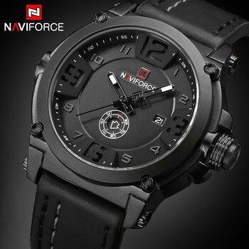 Reloj de cuarzo militar deportivo de marca de lujo NAVIFORCE, reloj de fecha analógico para hombre, reloj de pulsera con Correa de cuero Masculino