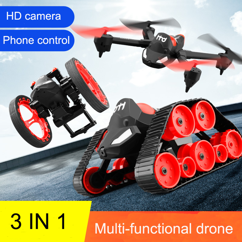 New RC Tank Bounce Car H3 WIFI FPV DIY 3 In 1 Headless Deformation Aerial RC Drone 2MP Camera Jumping Tank Car Amphibious Toys