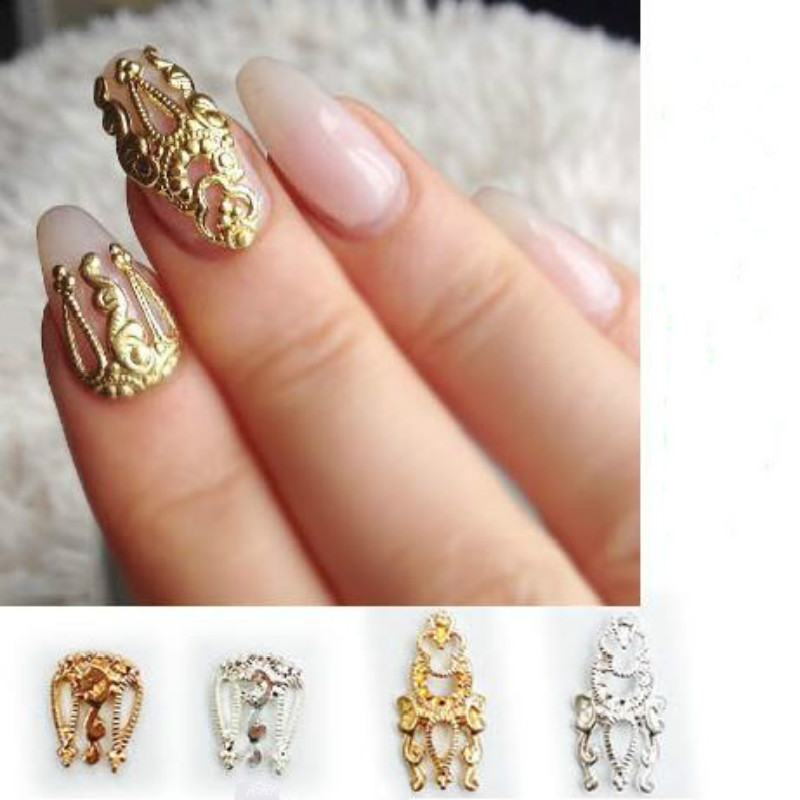 Diy 10pcs 3d hollow nail art gold silver alloy decoration for Decoration jewels mhw