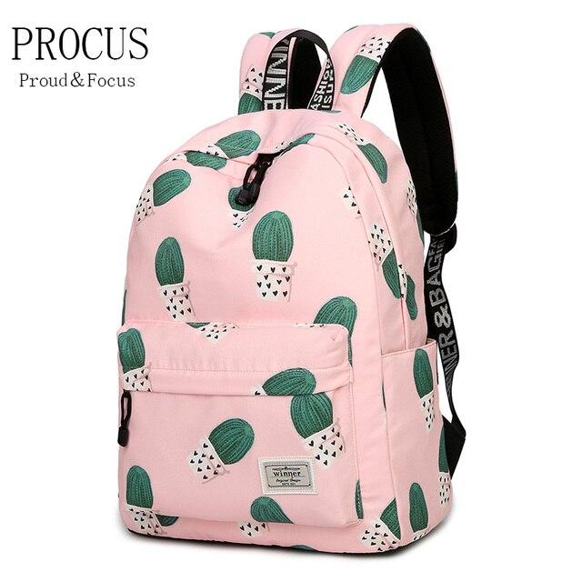 727366811a988 Kobiety mody Torebka Plecak Dla Młodzieży Szkolnej Dziewczyny Chłopcy  Kieszeni Torby Podróżne Studentów Kaktus Drukowanie Podwójna