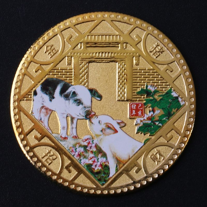 Pigs Commemorate Emboss Coin Collection Gold Plated New Year Bless Wish Souvenir