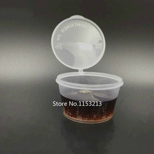 100 компл./лот 50 мл пластиковые приправы поле чашки соуса утолщение специи externide чашка сиамские пластиковые стаканчики 2 унц. соединены чашки