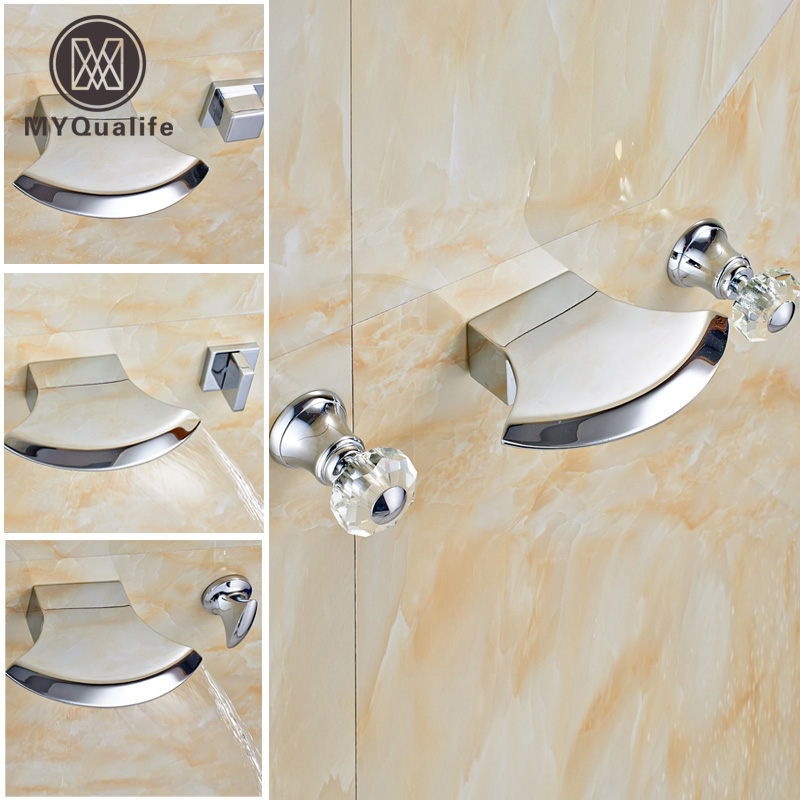 Creative Design Wall Mounted Waterfall Spout Basin Faucet Dual Handles Brass Chrome Lavatory Sink Mixer Taps polished chrome waterfall flow bathroom sink basin mixer faucet double handles wall mounted mixer taps