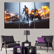 One Set 3 Pieces Modular Canvas Painting Modern HD Print Type Games Battlefield 4 Wall Art Picture Home Decorative Framework