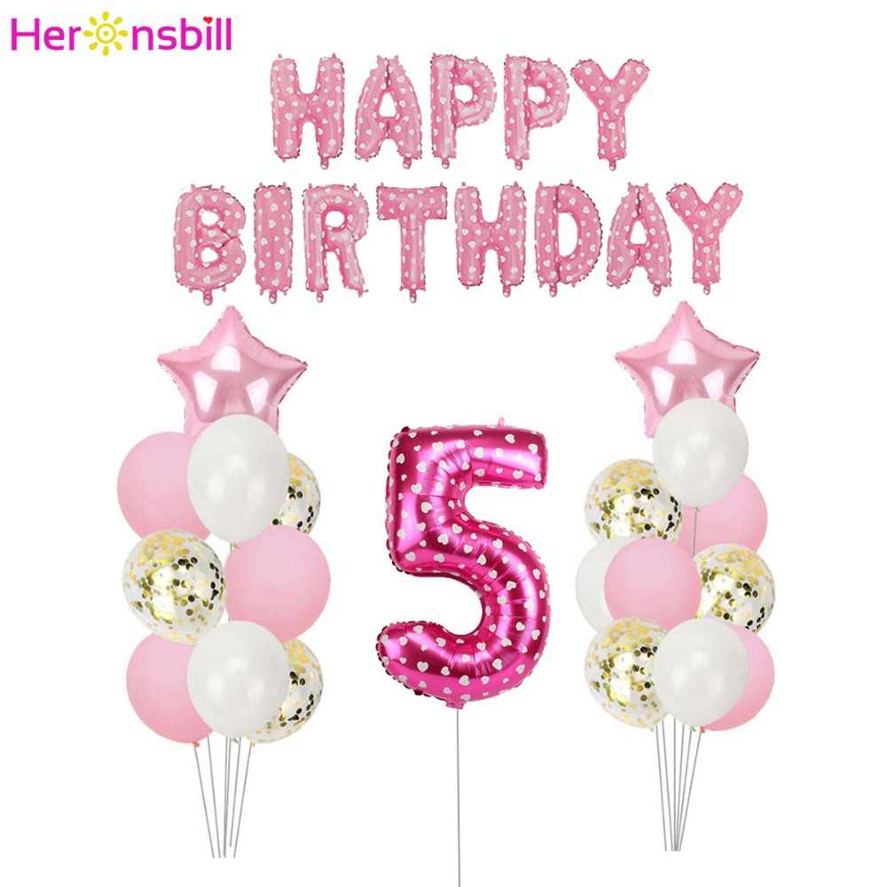 Heronsbill Number 5 Balloons Banner Kits 5th Birthday Party Decorations Boy Girl Years Old Supplies