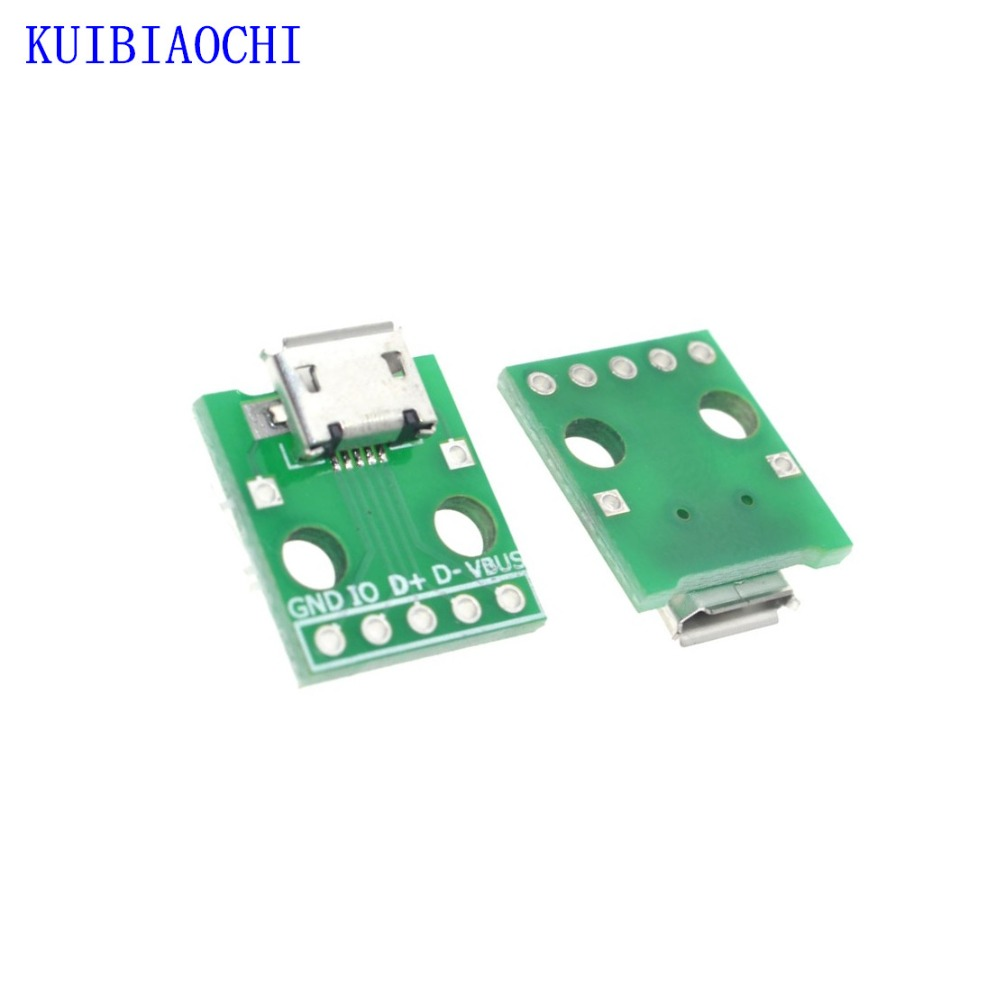 10pcs/lot <font><b>MICRO</b></font> <font><b>USB</b></font> To DIP Adapter 5pin Female <font><b>Connector</b></font> B Type <font><b>PCB</b></font> Converter Breadboard <font><b>USB</b></font>-01 Switch Board SMT Mother Seat image