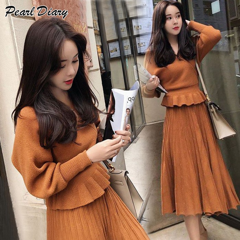 Women Knitted Sweater Dress 2019 Spring Autumn 2pcs Sets Korean Japanese Style Ruffles Sweater Tops Two Piece Sets Suits Dress