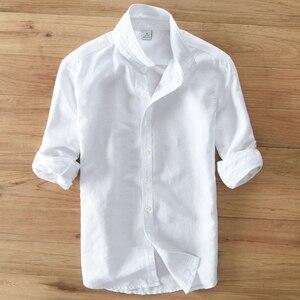 Image 2 - الربيع والخريف الرجال الموضة العلامة التجارية اليابان نمط سليم صالح القطن الكتان قميص طويل الأكمام الذكور قميص أبيض عادي استيراد الملابس