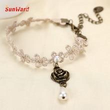 SunWard Adjustable Foot Jewelry Gothic Flower Lace Anklet White Zinc Alloy And Lace Vintage Anklet Bracelet 1pc