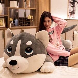 Image 1 - 1PC 80 120cm Nette Plüsch Big Husky Hund Tier Spielzeug Puppen Plüsch Kissen Kissen Baby Kinder geburtstag Geschenke Hause Dekoration