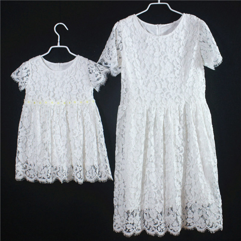 Family fitted look short Sleeves white kids girls paternity skirts mommy and daughter lace dress mother & kids birthday dresses