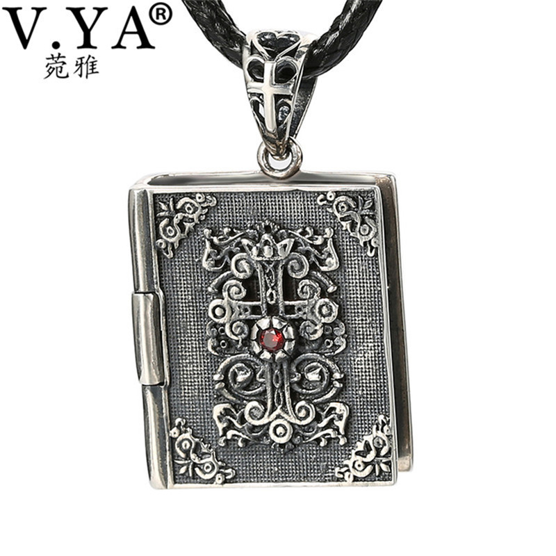 V.YA 925 Sterling Silver Christian Bible Cross Pendant Fit Most Necklace Retro Style Thai Silver Men's Cross Pendant цена