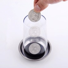 1pc Props Coin Penetrates into the Cup Tricks The Good Stretch COINS Through the Glass Magical Steel Cup Mat Magic Trick into the magic shop