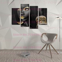 купить Egyptian Queen Beauty Black Woman Portrait Wall Art Canvas Print Golden Picture Painting for Office Hallway Home Wall Decor Gift онлайн