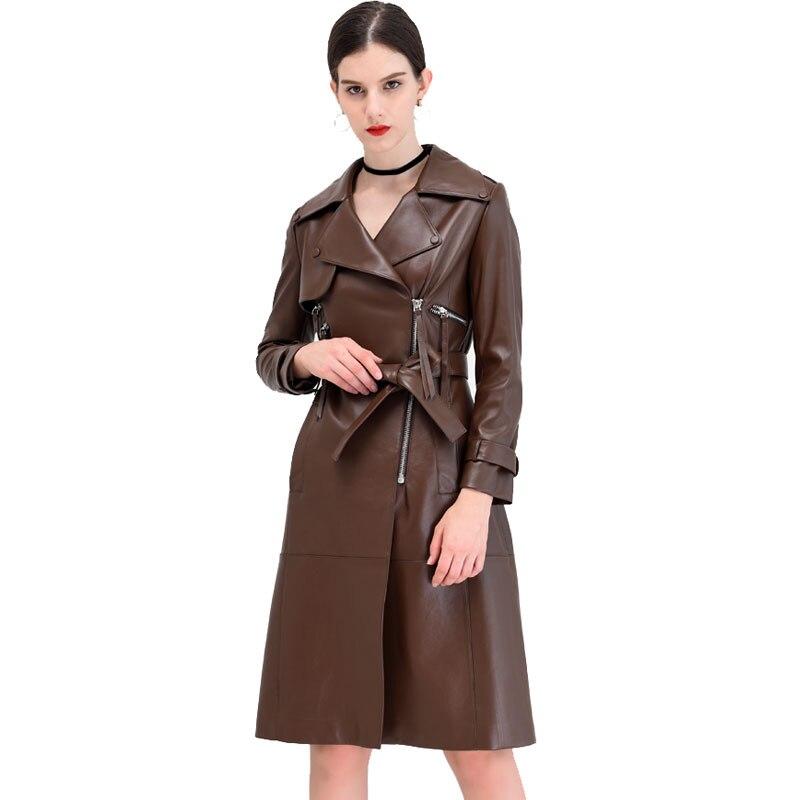 Manches X Light À plus Pu 2019 Printemps En Zipper De Grande Longues Veste Marque Femme Mode Tan Ceinture Wj1927 Cuir Qualité Avec zOR8q