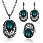 Vintage Oval Jewelry Sets For Women Wedding Decoration Antique Silver Rhinestone Resin Pendant Necklace Earrings Ring Sets 20%