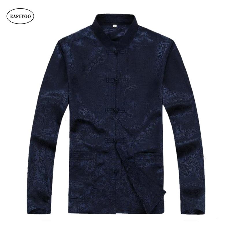 Chinese men shirt silk flora print casual shirt long for Long sleeve silk shirt dress