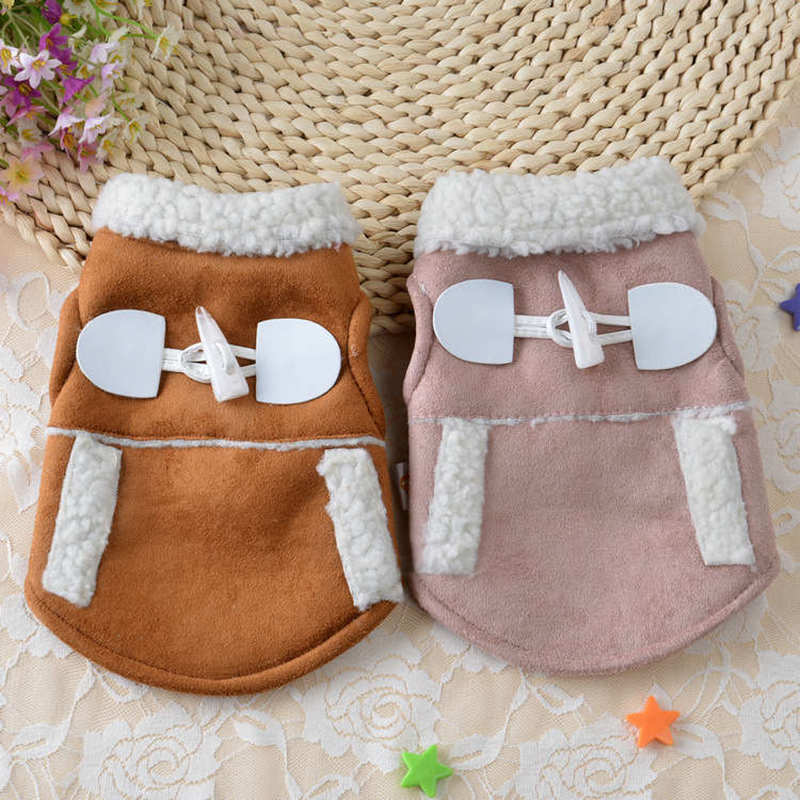 Super Warm Autumn/Winter Pet Dog Coat Motorcycle Jacket Clothes For Puppy Poodle Solid Pink Lamb Cashmere Hoodies Clothing