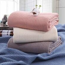 Летнее одеяло хлопок полдень оснастки покрытие высокое качество полотенца лоскутные одеяла Сплошной Розовый Бежевый Вафельная Ткань соты Чехлы для дивана