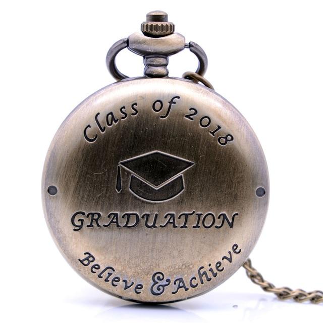 Class of 2018 Graduation Believe Achieve Vintage Antique Mens Quartz Pocket Watc