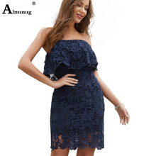 Womens Sexy Off the Shoulder Lace Mesh Bodice Ruffle Bodycon Dress Ladies Elegant Party Night Navy Summer Hollow Out Dresses