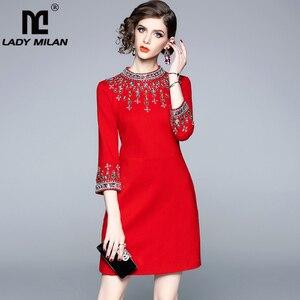 Image 1 - גברת מילאנו 2020 נשים O צוואר 3/4 שרוולי חרוזים Rhinstones אלגנטי גבוהה רחוב אופנה מסלול מעצב קצר שמלות