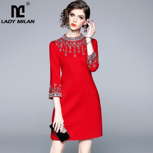 女性ミラノ 2020 女性の o ネック 3/4 スリーブビーズ rhinstones エレガントなハイストリートファッションデザイナー滑走路ショートドレス