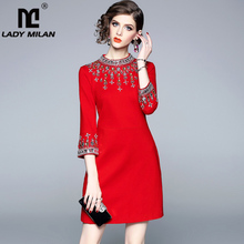 Lady Milan 2020 Womens O Neck 3/4 Sleeves Beaded Rhinstones Elegant High Street Fashion Designer Runway Short Dresses