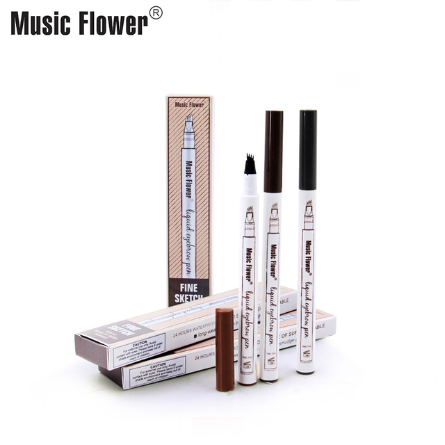 Music Flower Waterproof Microblading Eyebrow Tattoo Ink Pen Ultra-thin Carving Eyebrow Tattooing Pencil Sweat-proof 4 Head Fork 3