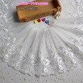 8144d2f5f4 3 yardas anchura 24 cm poliéster blanco bordado organza Encaje falda  dobladillo trajes Accesorios boda Costura