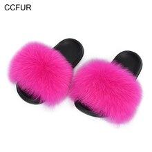 2019 Wider Fur Slides Women Fashion Summer Sliders Big Fluffy Natural Fur Indoor Slippers New Arrival S6044