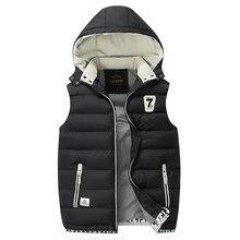 2016 männer Baumwolle Wolle Kragen Mit Kapuze Daunenweste Neue Winter Weste Marke Männlichen Winter Warme Jacke Oberbekleidung Sleeveless Mantel