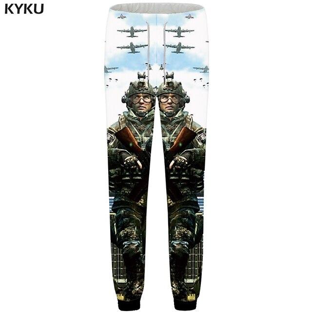 KYKU Guerra Calças Corredores Sweatpants Homens Calças Caráter Militar Rússia 3d Impressão Calças Retas Dos Homens de Musculação Calças Novo