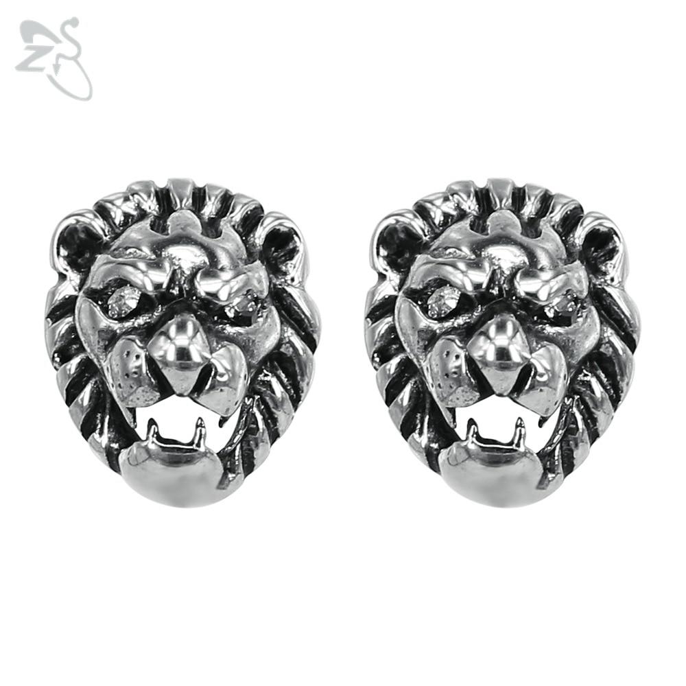 Animal Silver Stud Earrings For Men Women Punk Ear Earring Stainless Steel Earings Lion Tattoos Rock Jewelry Pendientes Hombre