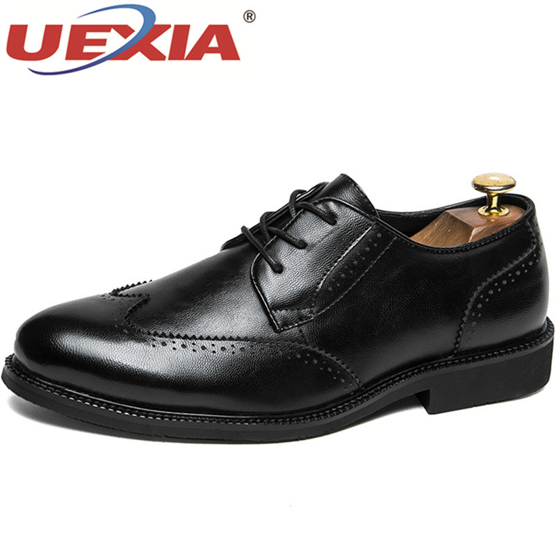 UEXIA Men Business Shoes Handmade formal Leather Fashion Men Flats British High Quality Brand Dress Shoe Wedding Shoes Oxfords zxq brand handmade new winter men oxford shoes solid color high quality retro british style men flats leather shoes