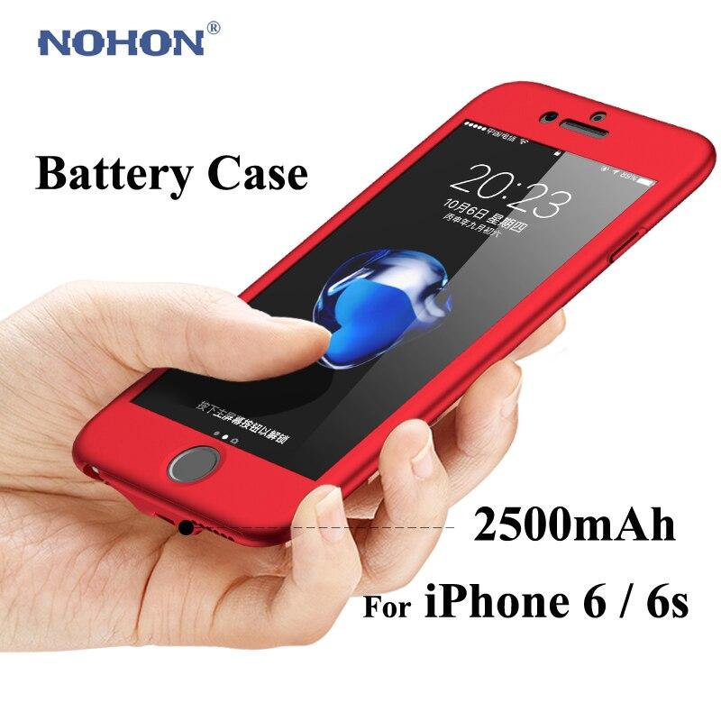 Cep telefonları ve Telekomünikasyon Ürünleri'ten Pil Şarj Kılıfları'de Nohon pil şarj cihazı Kılıfları Apple iPhone 6 s 6 7 7G 2500 mAh Güç Bankası Paketi Harici Yedekleme Ultra ince Taşınabilir Bateria Kapak title=