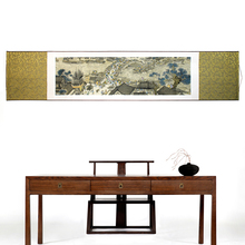 лучшая цена Full Silk Colored three-dimensional Brocade Painting Along the River During the Qingming Festival famous wall picture home decor