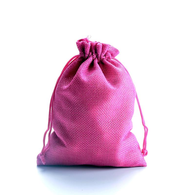 4318225926b88 شحن مجاني 50 قطعة الوحدة 10 14 سنتيمتر الساخنة الوردي الجوت الكتان حقيبة  تخزين أكياس صغيرة كيس الحلوى هدية البخور مجوهرات هدايا حقائب تغليف