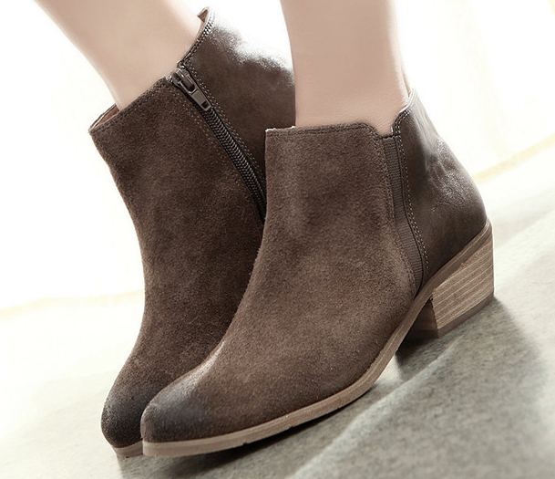 Women's Bootie Boots With Zipper