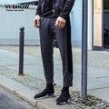 VIISHOW Moda casual algodón pantalones rectos hombres de Marca Ropa de Hombre Pantalones Slim Fit Pantalones Hombre Tallas grandes patchwork pantalones S-3XL