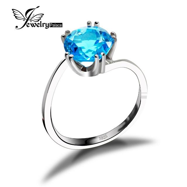 Moda Elegante Topacio Azul Anillos Para Las Mujeres Genuino Esterlina del Sólido 925 de Plata 2016 Marca Diseño Del Encanto de la Joyería de La Vendimia