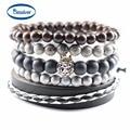 Fashion Jewelry Men Bracelets Handmade DIY Beads Women Charm Bracelets & Bangles Leather Wrap Accessories Party Gifts Birthday