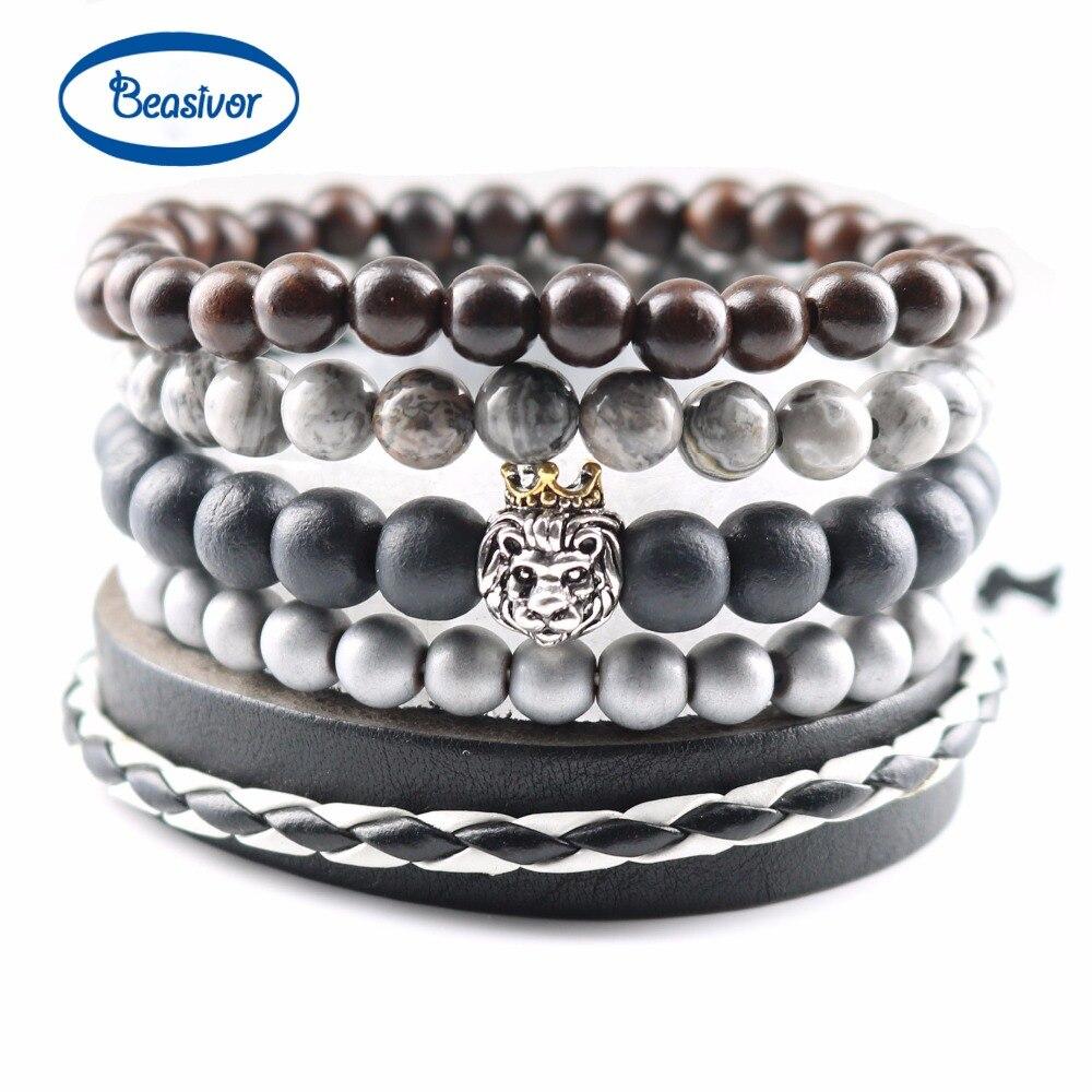 Men Bracelets Handmade Multi Layer Genuine Leather Matte Onyx Crown Lion Charm Bracelets & Bangles Mala Prayer Beads Jewelry