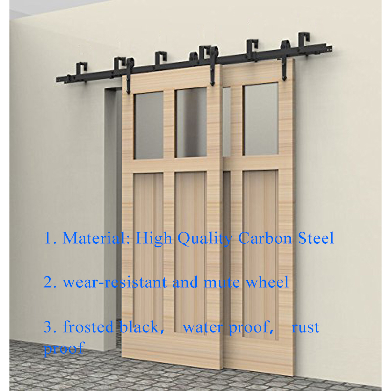 5 8FT Rustic Interior Doors Bypass Sliding Barn Wood Door Hardware Steel  Arrow Country Style