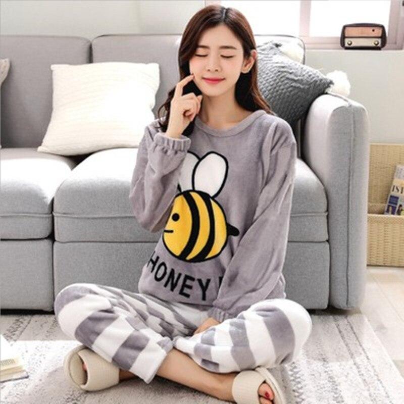Women   Pajamas     Set   Cartoon Bunny Embroidery Thick Flannel Warm Sexy Pyjama 2019 Spring/ Winter Top Fashion Home Mom Sleepwear
