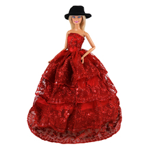 Handmade Red Fashion Wedding princess Dress For Barbie Doll Floral Doll Dress Clothes Clothing Multi Layers Dolls Accessories handmade pure white wedding gown with sequin copy pearl beads gorgeous dress limited edition clothes for barbie doll kurhn fr