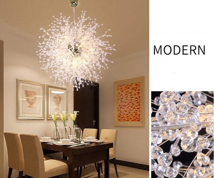 Post moderne kroonluchter led creatieve kristal licht paardebloem