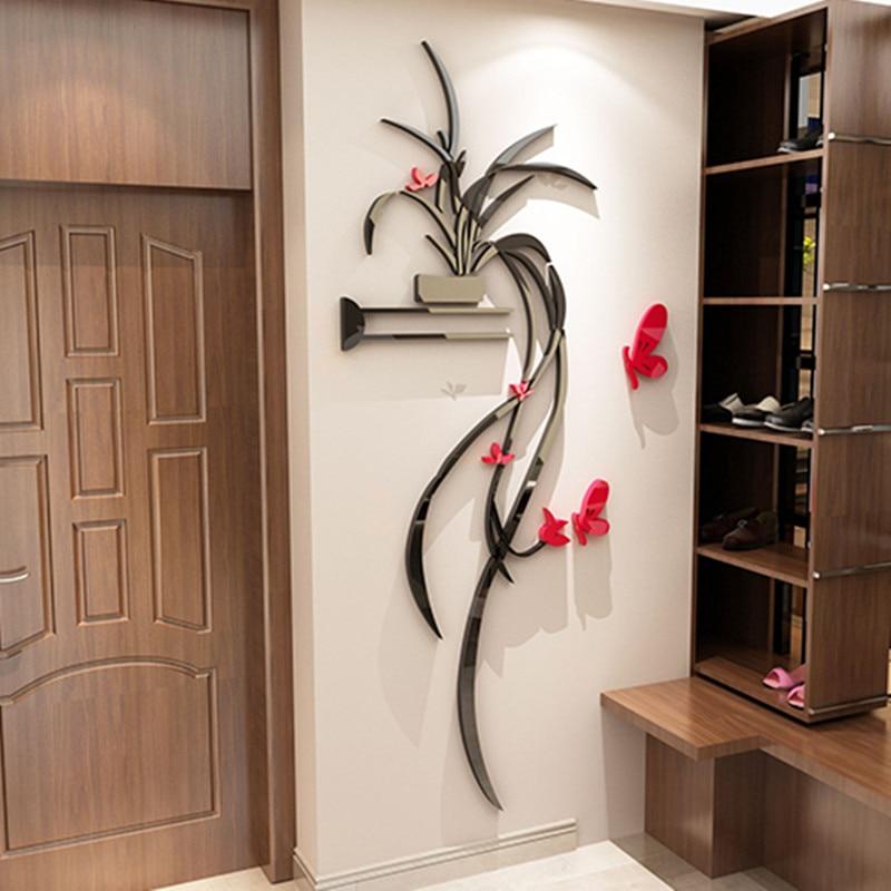 3D three dimensional wall stickers creative Chlorophytum ... on Creative Living Room Wall Decor Ideas  id=81076